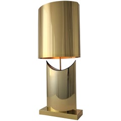 1976 Curtis Jere Huge Brass-Plated Table Lamp, USA