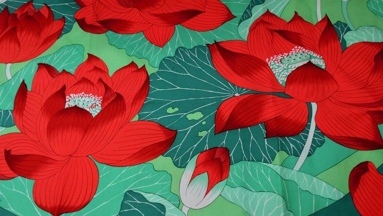 Women's or Men's 1976 Hermés 'Fleurs De Lotus' Silk Scarf For Sale