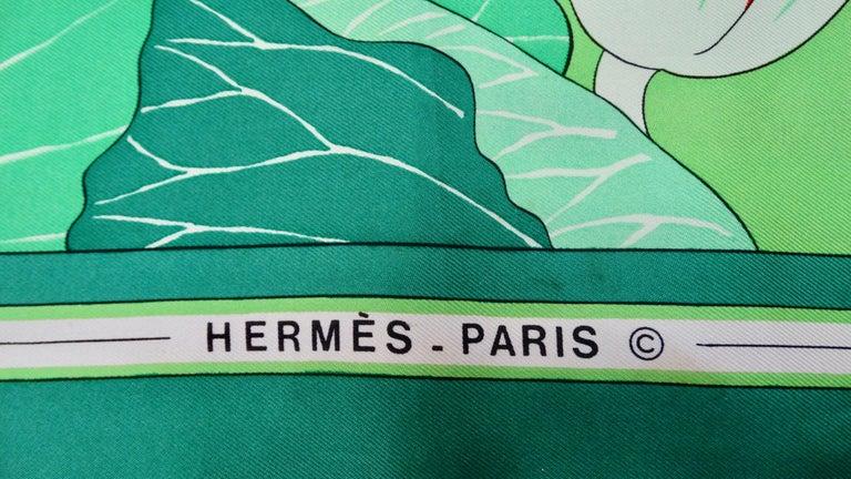 1976 Hermés 'Fleurs De Lotus' Silk Scarf For Sale 1