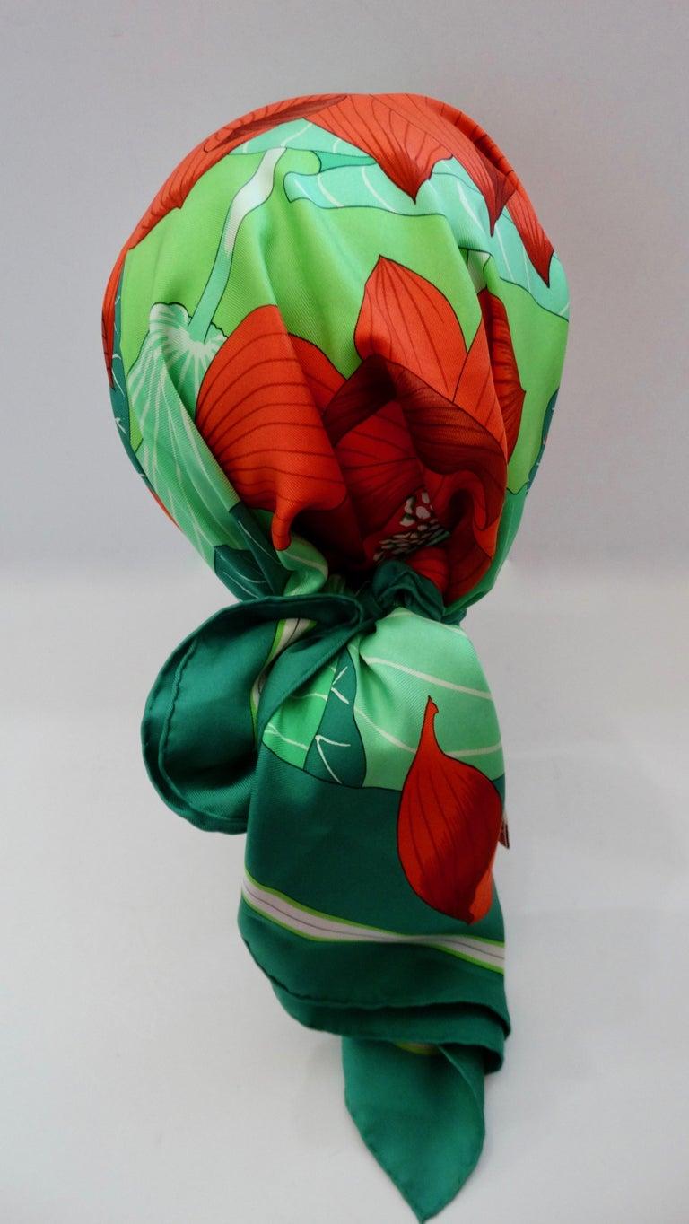 1976 Hermés 'Fleurs De Lotus' Silk Scarf For Sale 2