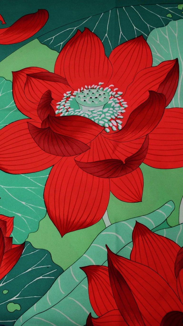 1976 Hermés 'Fleurs De Lotus' Silk Scarf For Sale 4