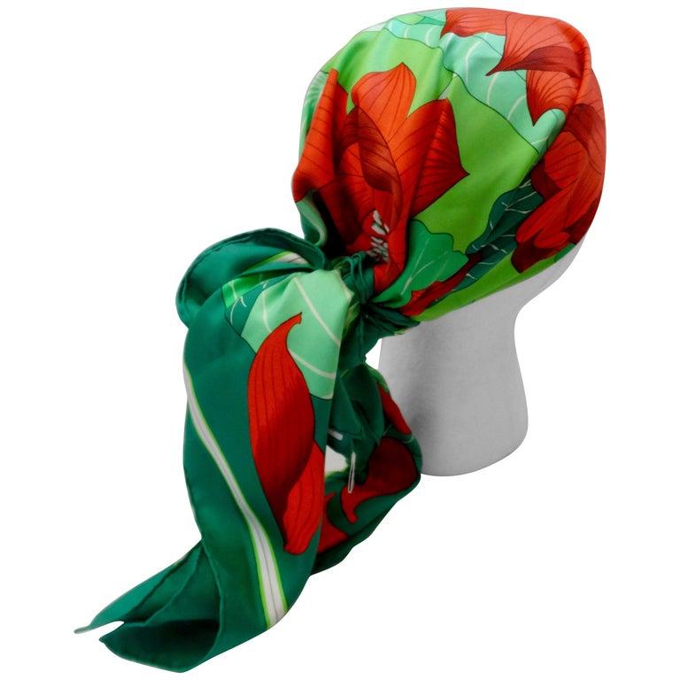 1976 Hermés 'Fleurs De Lotus' Silk Scarf For Sale