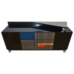 1976 Italian Black Lacquer Silver Grey Blue Mondrian Decor Bar Sideboard/Cabinet
