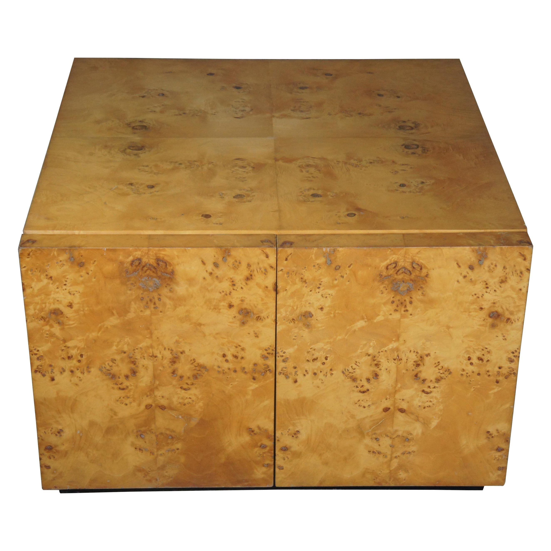 Arthur Umanoff Mid-Century Modern Olive Wood Burled Accent Cabinet Table
