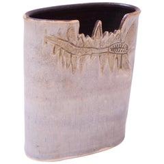 1976 Pale Blue Matte Glaze Studio Stoneware Vase by Pollack
