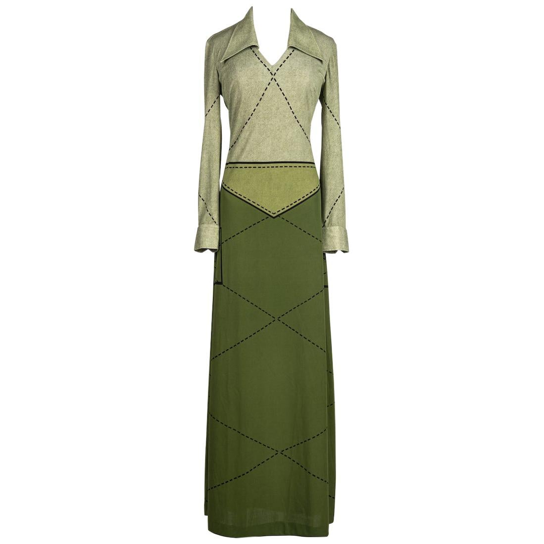 "1976 ROBERTA DI CAMERINO ""Hippie"" Green Jersey Trompe l'Oeil Print Maxi Dress"