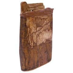 1976 Studio Stoneware Earthtone Vase Signed Pollack