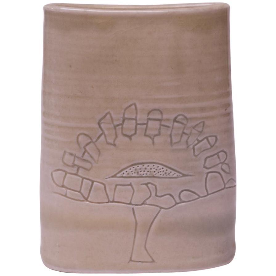 "1976 Studio Stoneware Pale Beige ""Tree of Life"" Vase Signed Pollack"