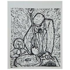 "1976 Ukrainian Etching ""Making Bread"" Farming USSR Soviet Avant Garde 11"""