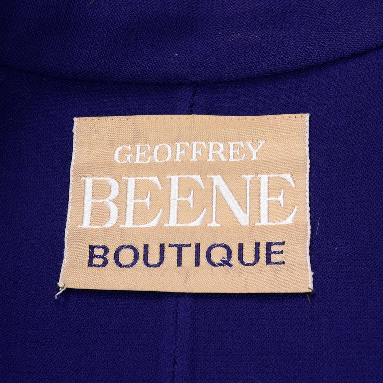 1976 Vintage Geoffrey Beene Royal Blue Wool Coat and Skirt Suit For Sale 10