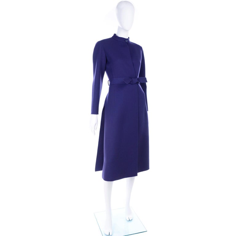 Women's 1976 Vintage Geoffrey Beene Royal Blue Wool Coat and Skirt Suit For Sale