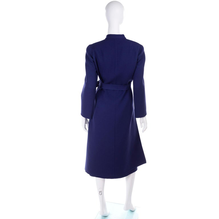 1976 Vintage Geoffrey Beene Royal Blue Wool Coat and Skirt Suit For Sale 1