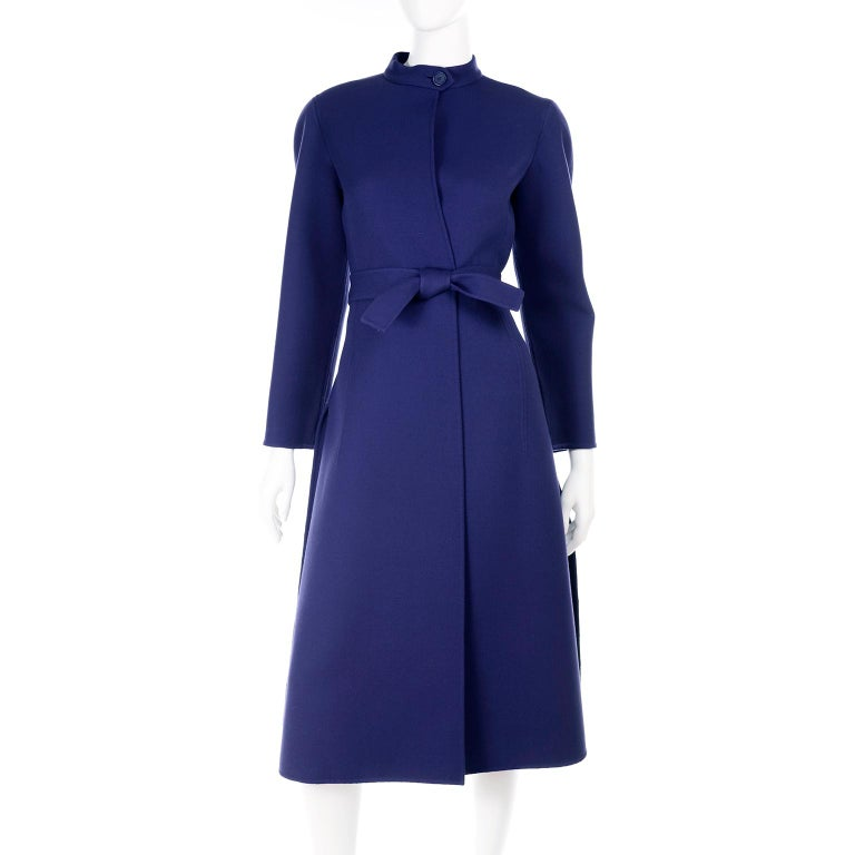 1976 Vintage Geoffrey Beene Royal Blue Wool Coat and Skirt Suit For Sale 2