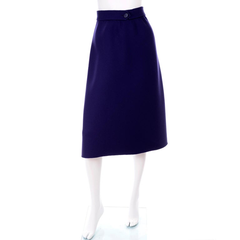 1976 Vintage Geoffrey Beene Royal Blue Wool Coat and Skirt Suit For Sale 4