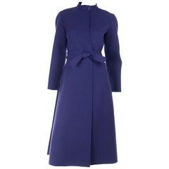 1976 Vintage Geoffrey Beene Royal Blue Wool Coat and Skirt Suit