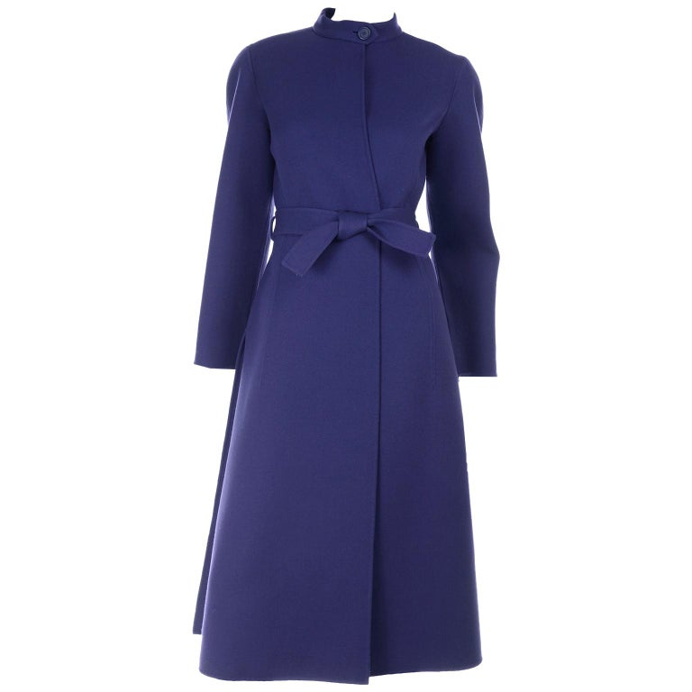 1976 Vintage Geoffrey Beene Royal Blue Wool Coat and Skirt Suit For Sale