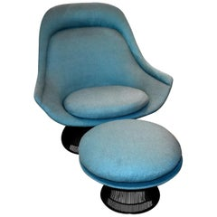 1976 Warren Platner for Knoll Bronze Lounge Chair and Ottoman