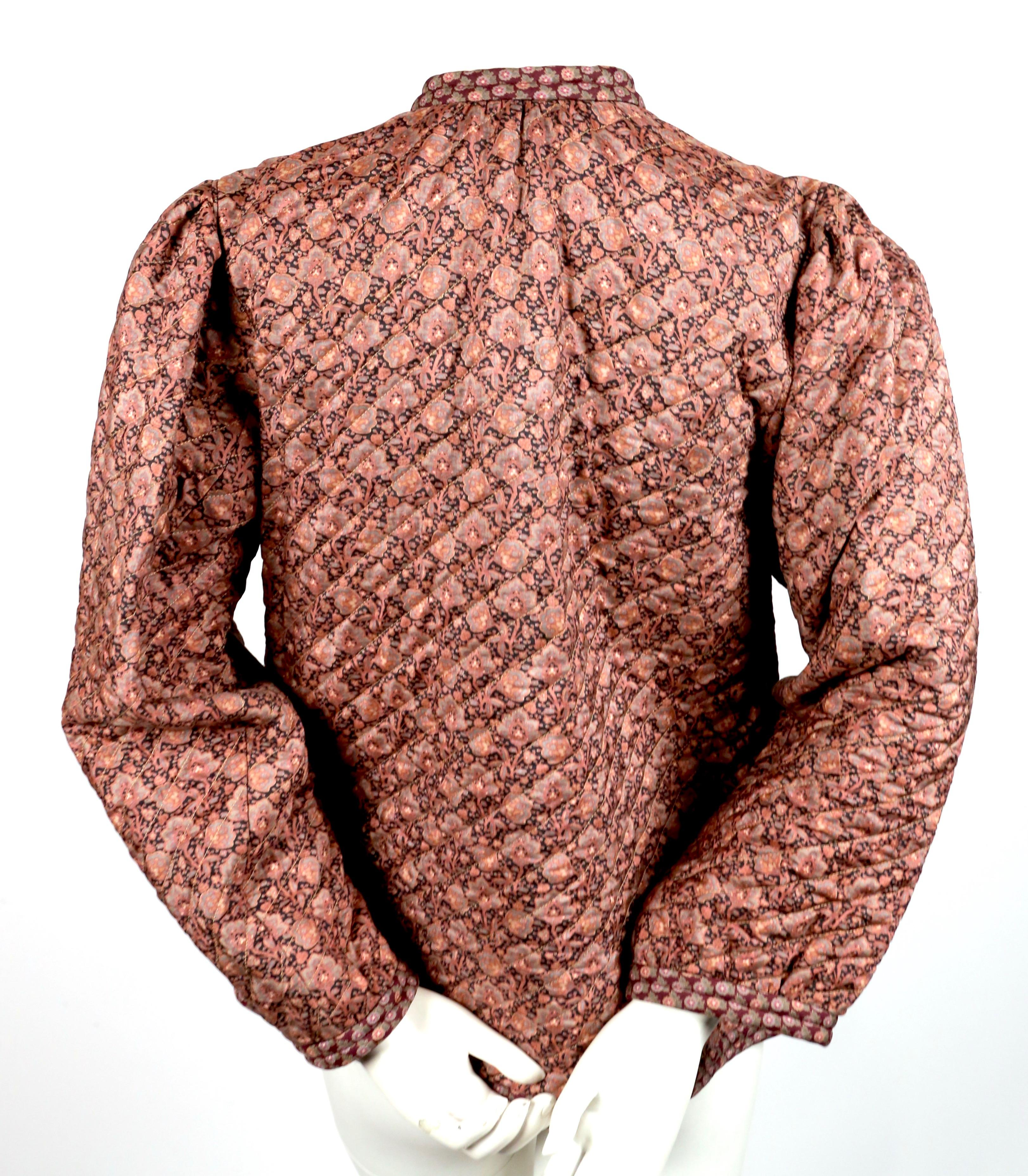 6d93fdfd456 1976 YVES SAINT LAURENT quilted floral printed silk peasant jacket For Sale  at 1stdibs