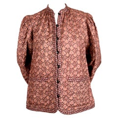1976 YVES SAINT LAURENT quilted floral printed silk peasant jacket