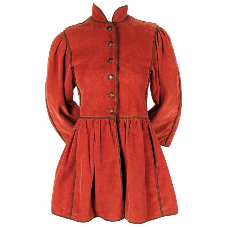 1976 YVES SAINT LAURENT Russian collection corduroy coat with wood buttons