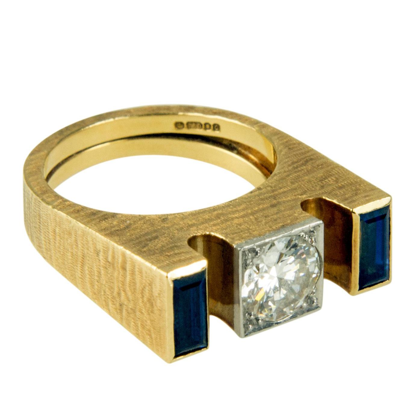 1977 Andrew Grima, Diamond, Sapphire & Engraved Gold Ring