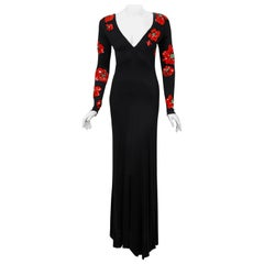 1977 Bob Mackie Couture Beaded Sequin Red-Poppies Black Silk Jersey Plunge Gown