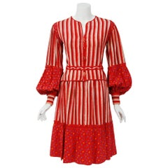 1977 Emanuel Ungaro Haute Couture Red Floral Stripe Silk Belted Blouse & Skirt