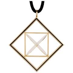 1977 Giorgio Facchini Geometric Enamel and Gold Pendant