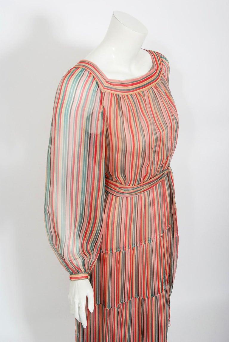 Brown Vintage 1977 Givenchy Colorful Stripe Silk-Chiffon Billow Sleeve Bohemian Dress For Sale