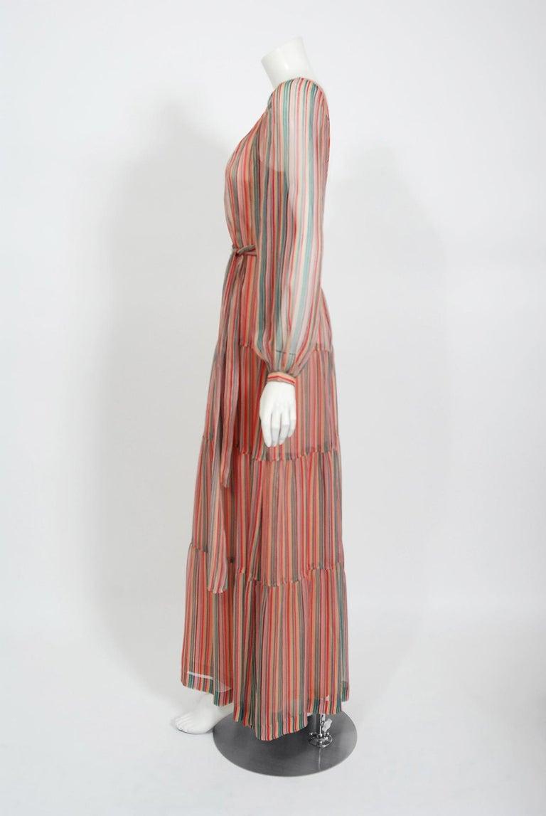 Women's Vintage 1977 Givenchy Colorful Stripe Silk-Chiffon Billow Sleeve Bohemian Dress For Sale