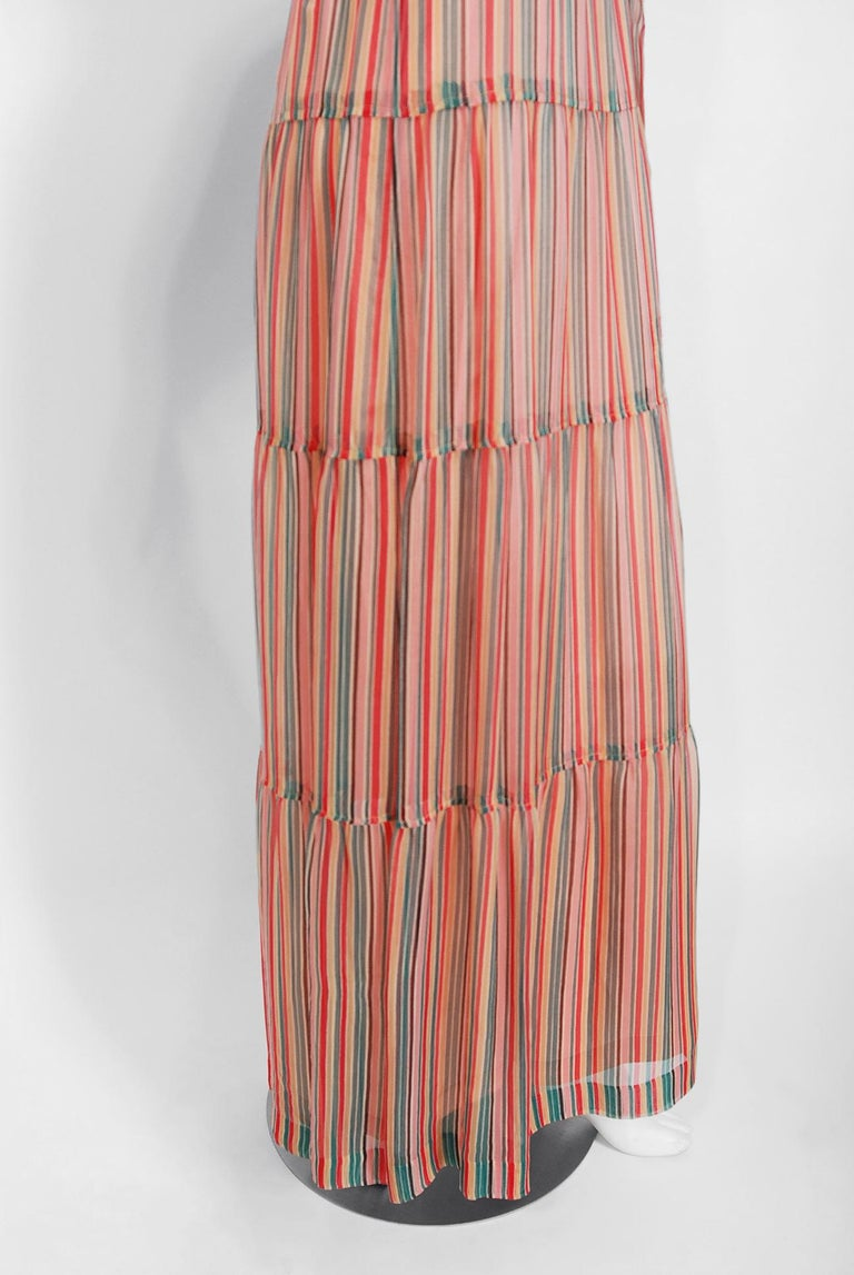 Vintage 1977 Givenchy Colorful Stripe Silk-Chiffon Billow Sleeve Bohemian Dress For Sale 1