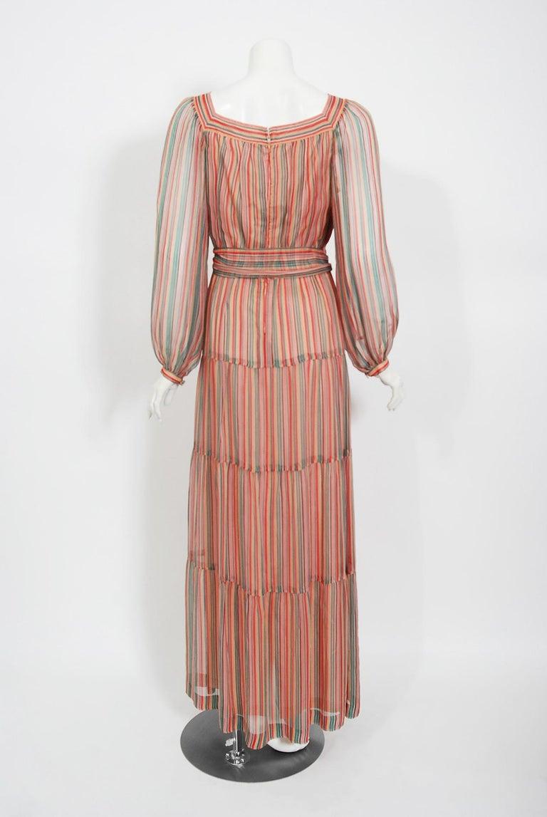 Vintage 1977 Givenchy Colorful Stripe Silk-Chiffon Billow Sleeve Bohemian Dress For Sale 2