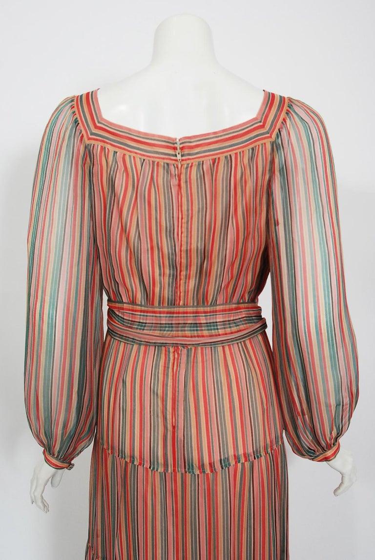 Vintage 1977 Givenchy Colorful Stripe Silk-Chiffon Billow Sleeve Bohemian Dress For Sale 3