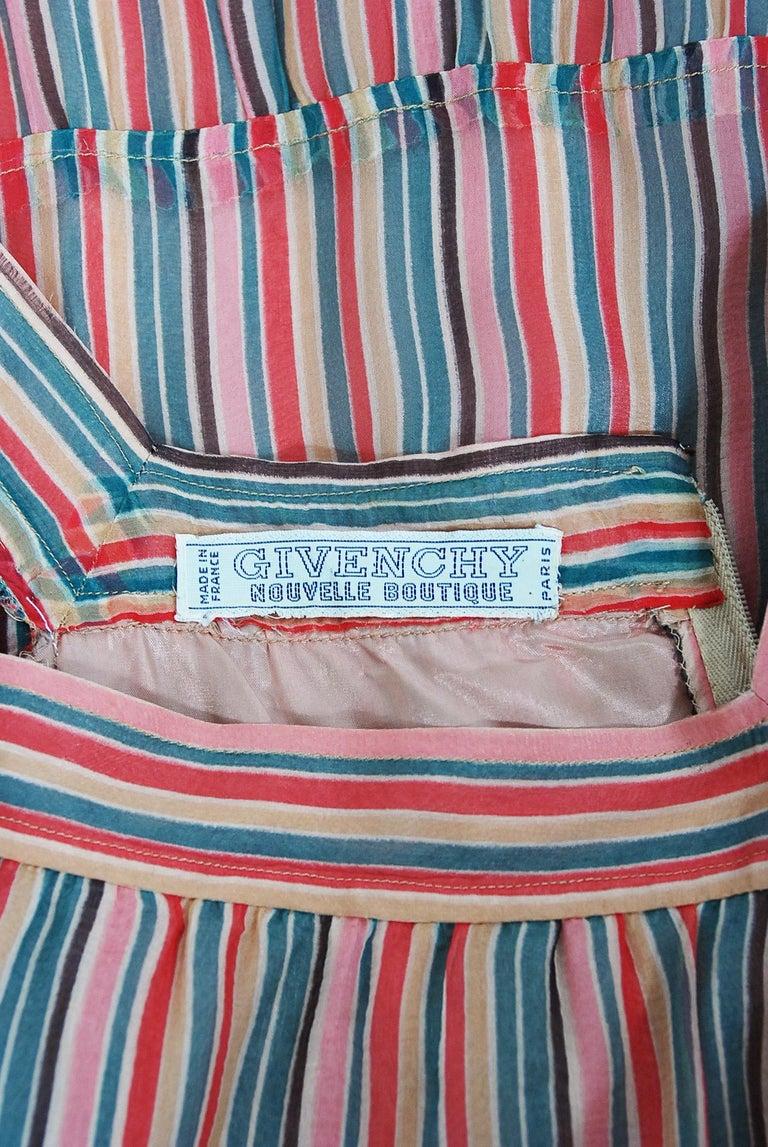 Vintage 1977 Givenchy Colorful Stripe Silk-Chiffon Billow Sleeve Bohemian Dress For Sale 4