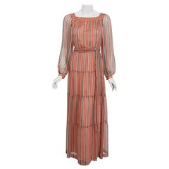 1977 Givenchy Colorful Stripe Silk-Chiffon Billow Sleeve Belted Bohemian Dress
