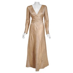 1977 Givenchy Haute-Couture Metallic Gold Silk Brocade Long-Sleeve Plunge Gown