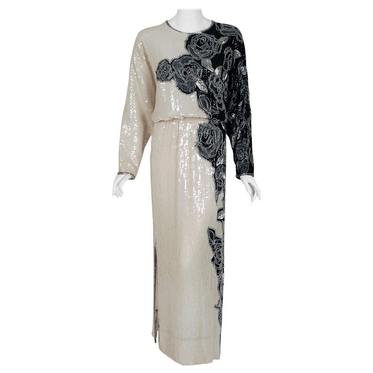1977 Halston Couture Beaded Sequin Rose-Garden Silk Dolman Sleeve Gown For Sale