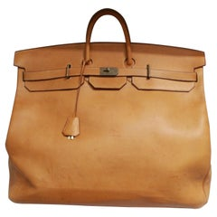 1977 Hermes Travel XL Haut à Courroies in Brown Natural Leather Barenia Style