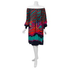 1977 Lanvin Couture Colorful Print Silk Off-Shoulder Billow Sleeve Tunic Dress