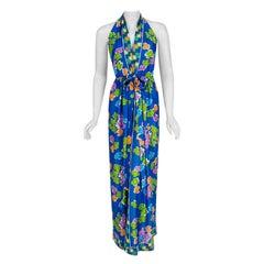 1977 Oscar de la Renta Colorful Graphic Jersey Print Halter Backless Maxi Dress