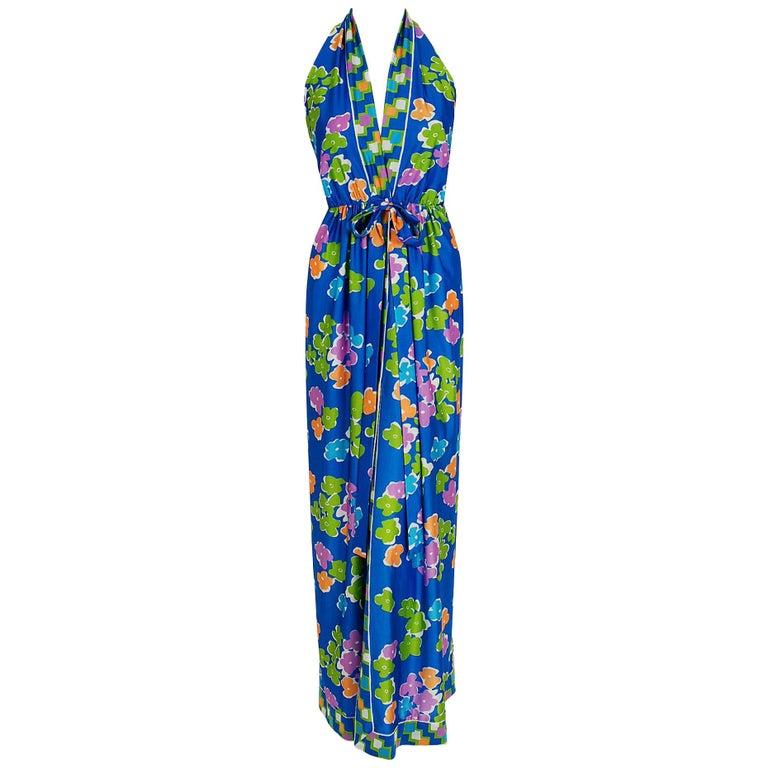 1977 Oscar de la Renta Colorful Jersey Print Halter Backless Resort Maxi Dress For Sale