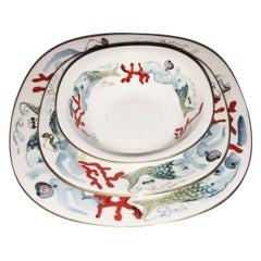 "1977 Porcelain Salvador Dali Dinner Service ""Mermaids, Coral and Ant"""