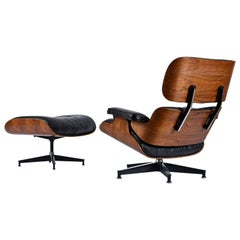 1977 Rosewood Eames Lounge Chair and Ottoman by Herman Miller in Black Leather