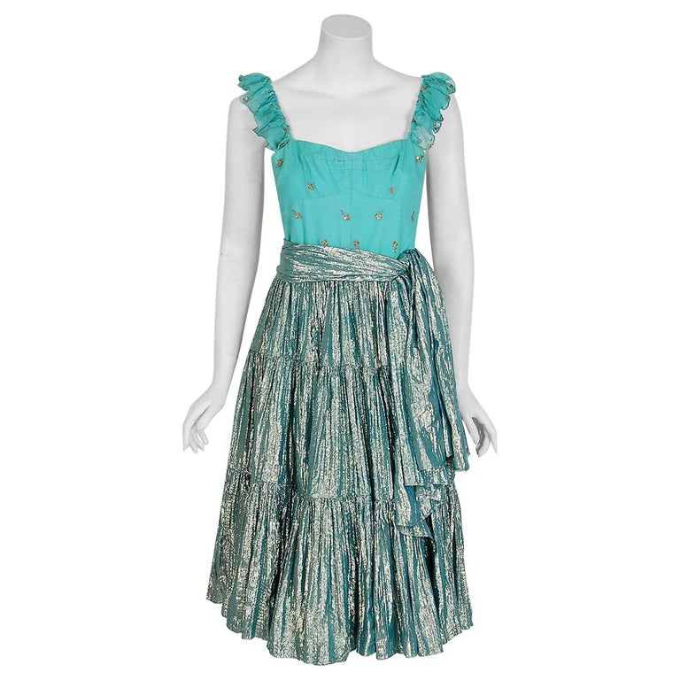 1977 Thea Porter Couture Metallic Embroidered Silk Lamé Gypsy Dress & Jacket