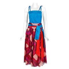 1977 Ungaro Paris Colorful Print Silk Belted Bohemian Gypsy Four-Piece Ensemble