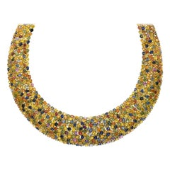 197.73 Carat Multicolored Sapphire and Diamond Necklace