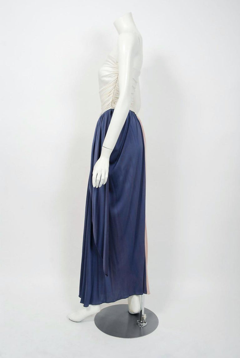 Vintage 1970's Bill Blass Ivory Blush Blue Jersey Strapless Draped Disco Dress In Good Condition For Sale In Beverly Hills, CA