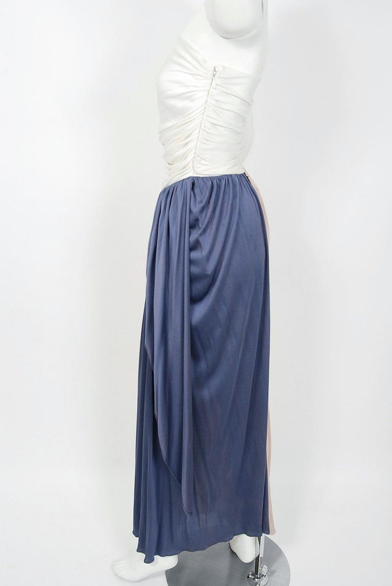 Women's Vintage 1970's Bill Blass Ivory Blush Blue Jersey Strapless Draped Disco Dress For Sale