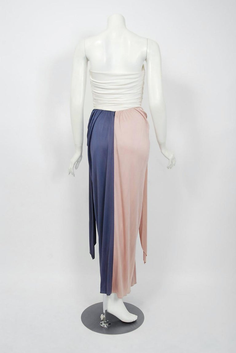 Vintage 1970's Bill Blass Ivory Blush Blue Jersey Strapless Draped Disco Dress For Sale 1