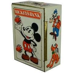 1978 Disney Mickey's Tin Coin Bank, Bank Safe Toy